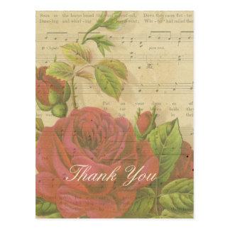 Gracias hoja de música floral de los rosas rojos postal