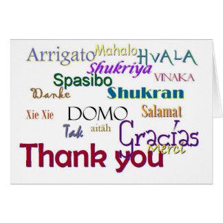 Gracias, Hvala, Gracias, Vielen húmedo, Spasibo Tarjetas