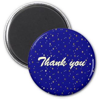 Gracias imán redondo de las estrellas de oro azule