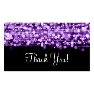 Gracias insertar las chispas del fiesta púrpuras tarjetas de visita