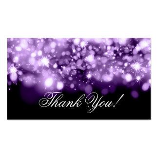Gracias insertar las luces chispeantes púrpuras tarjetas de visita