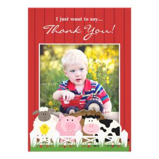 Gracias invitación plana de la granja de la foto