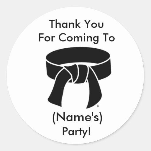 Gracias ir de fiesta la correa negra de los artes  etiquetas redondas