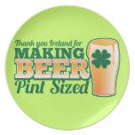 Gracias Irlanda por hacer la pinta de la cerveza c Platos Para Fiestas