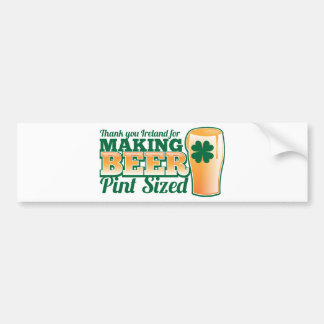 Gracias Irlanda por hacer la pinta de la cerveza Pegatina Para Auto