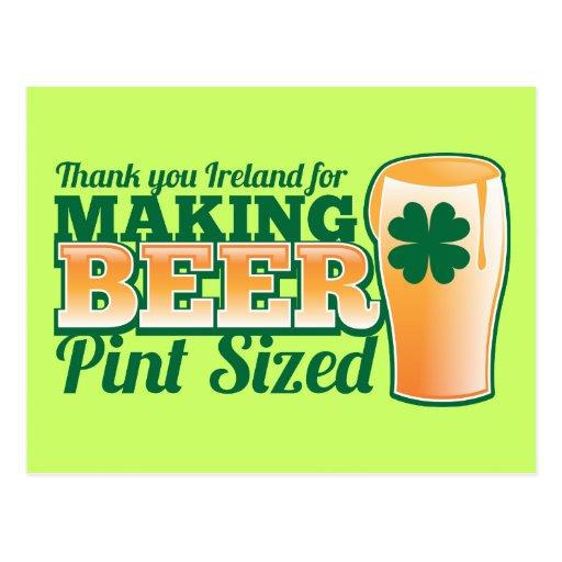 Gracias Irlanda por hacer la pinta de la cerveza Postales