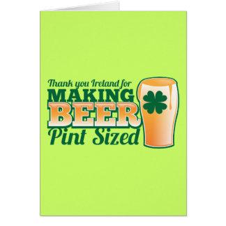 Gracias Irlanda por hacer la pinta de la cerveza Tarjeta De Felicitación
