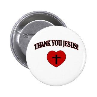 Gracias Jesús (el corazón) Pin Redondo De 2 Pulgadas