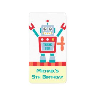 Gracias, juguete del robot, fiesta de cumpleaños etiquetas de dirección