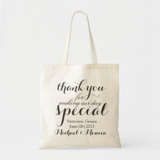 Gracias la bolsa de asas de encargo del regalo del