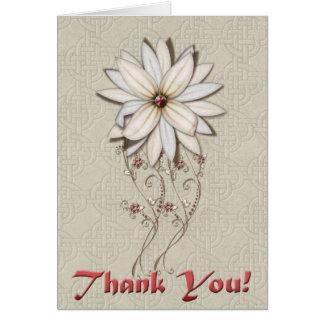 Gracias la flor de plata y blanca tarjeta de felicitación