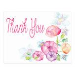 Gracias la postal rosada y púrpura de la acuarela