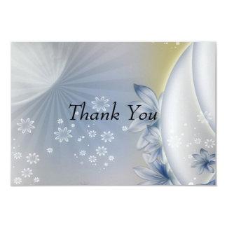 """Gracias la tarjeta azul blanca de las flores invitación 3.5"""" x 5"""""""