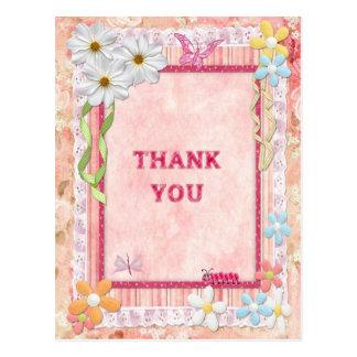 Gracias la tarjeta del arte, de las flores y de postal