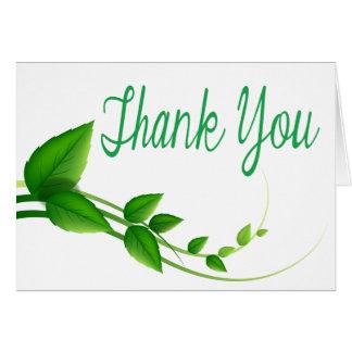 Gracias la tarjeta verde y blanca de la hoja de la