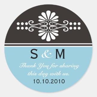 Gracias las etiquetas del favor del boda del etiquetas redondas