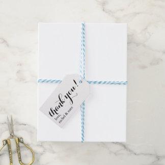 Gracias las etiquetas del favor del boda etiquetas para regalos