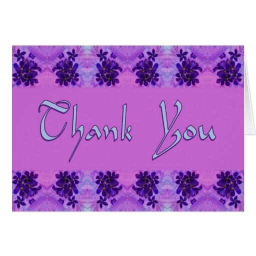 Gracias las flores púrpuras tarjeta de felicitación