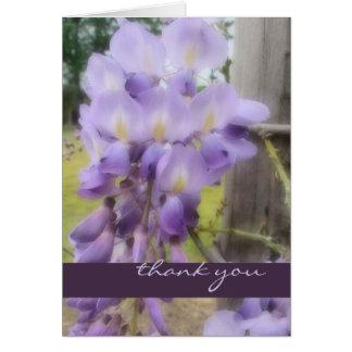 Gracias - las glicinias suaves del foco tarjeta de felicitación