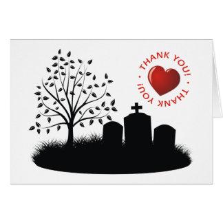 Gracias - las lápidas mortuorias con el corazón tarjeta de felicitación