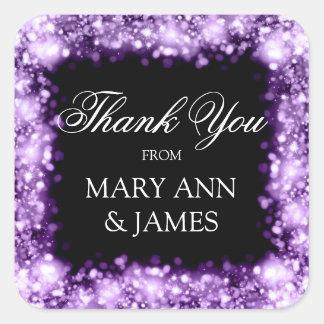 Gracias las luces chispeantes del boda púrpuras pegatina cuadrada