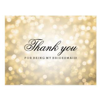 Gracias las luces del brillo del oro de la dama de tarjeta postal