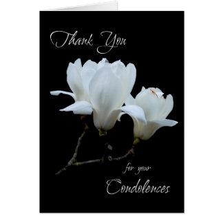 Gracias las magnolias del blanco de las tarjeta de felicitación