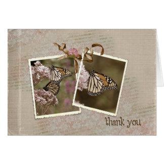Gracias las mariposas del vintage tarjeta de felicitación