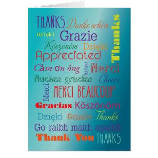 Gracias las palabras del idioma extranjero del tarjeta de felicitación