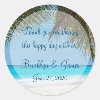 Gracias las palmeras en los pegatinas del boda de pegatina redonda