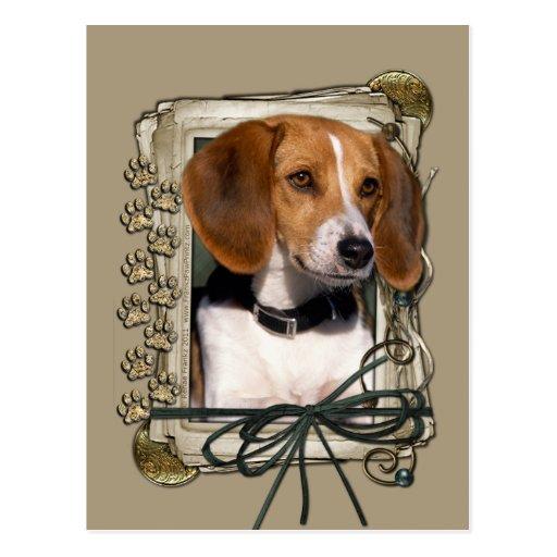 Gracias - las patas de piedra - beagle tarjeta postal