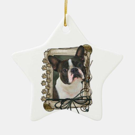 Gracias - las patas de piedra - Boston Terrier Ornamentos Para Reyes Magos