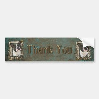 Gracias - las patas de piedra - Boston Terrier - Pegatina Para Auto
