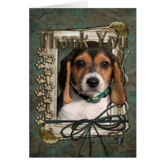 Gracias - las patas de piedra - perrito del beagle tarjeta