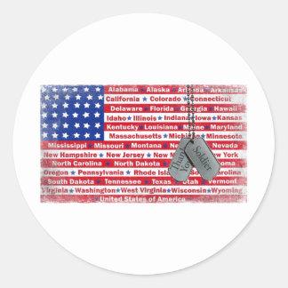 Gracias las placas de identificación del soldado pegatina redonda