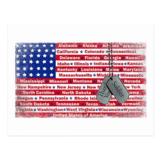 Gracias las placas de identificación del soldado tarjetas postales