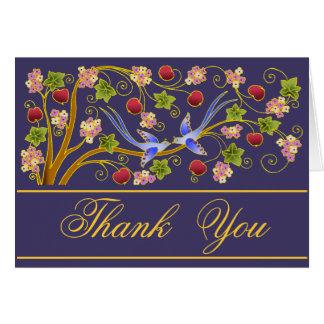 """""""Gracias"""" las tarjetas dobladas con los Lovebirds"""