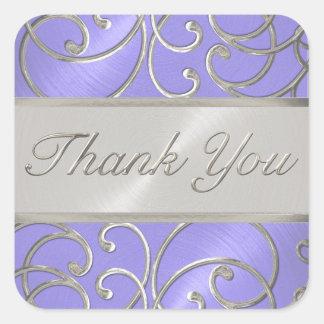 Gracias lavanda elegante Filigre de plata púrpura Pegatina Cuadrada