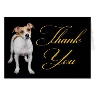 Gracias levantar la tarjeta de nota del perro de p