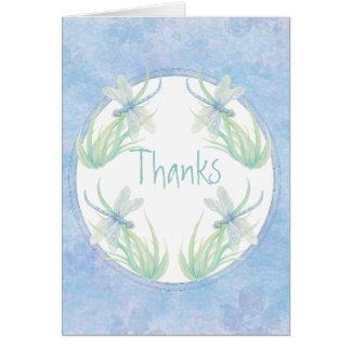 Gracias libélula original de la acuarela en azul tarjeta pequeña
