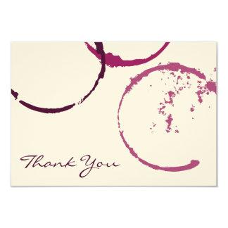 """Gracias los anillos planos de la mancha del vino invitación 3.5"""" x 5"""""""