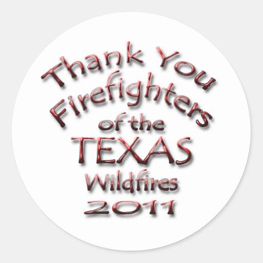 Gracias los bomberos Tejas 2011 Etiquetas Redondas