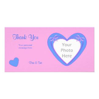 Gracias - los corazones azules en rosa tarjeta personal con foto