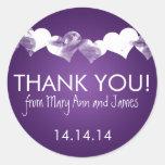 Gracias los corazones del Grunge púrpuras Etiqueta Redonda