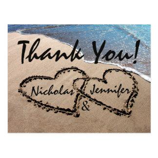 Gracias los corazones en postal de la playa del