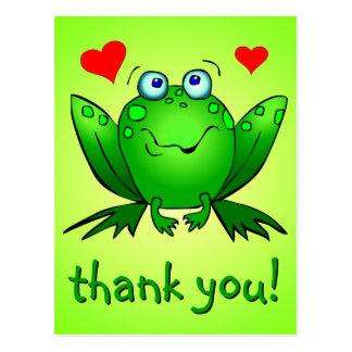 Gracias los corazones lindos de la rana verde postal