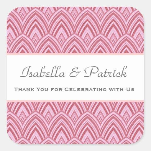 Gracias los galones emplumados rosados que casan pegatina cuadrada