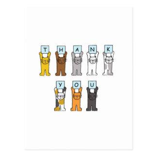 Gracias los gatos del dibujo animado. postales