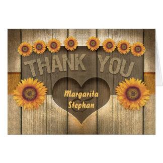 gracias los girasoles y las invitaciones de boda d tarjeta