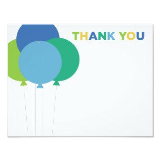 """Gracias los globos del verde azul de las tarjetas invitación 4.25"""" x 5.5"""""""